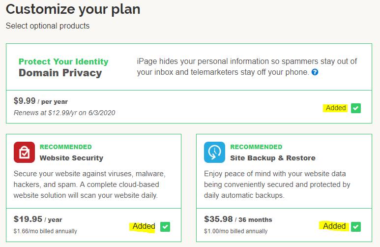 ipage customization plan